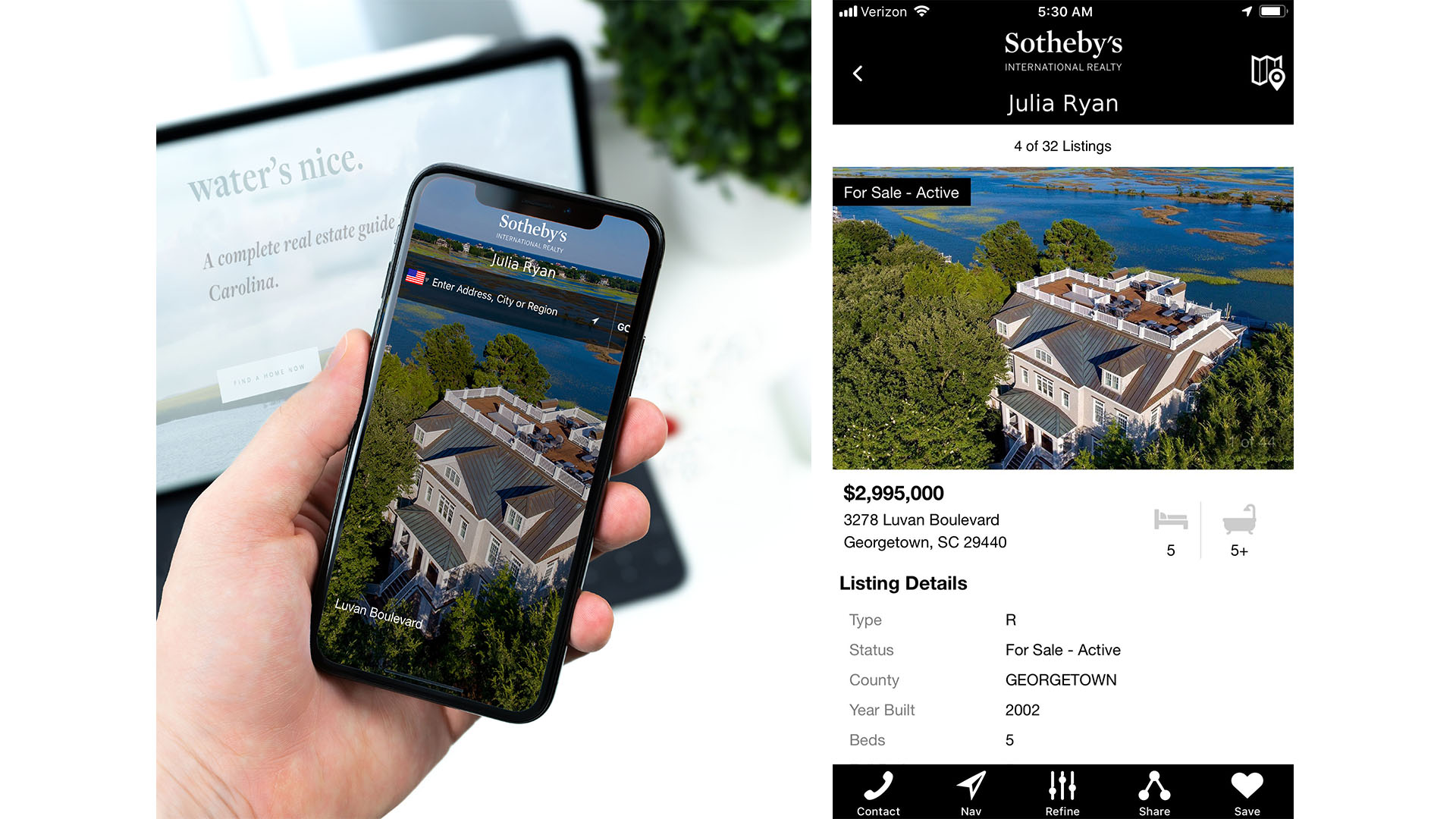 SIR Mobile - The Sotheby's International Realty® brand has partnered with Smarter Agent to co-develop the FREE Sotheby's International Realty mobile application, SIR Mobile. SIR Mobile is leading the charge of the growing mobile marketplace and helping our network own the mobile relationship with your clients and potential clients. SIR Mobile is unique in that it works on any phone including iPhone and Android, as well as the iPad, enabling the Sotheby's International Realty network to reach all homebuyers that use mobile devices.To enhance the search for a home, the Sotheby's International Realty iPad app not only offers luxury homes for sale, for rent and recent home sale prices, but also provides the ability to hone the property search based on local points of interest and lifestyle (USA search compatibility only). It empowers the consumer to get to know the neighborhood where they're considering buying or renting.