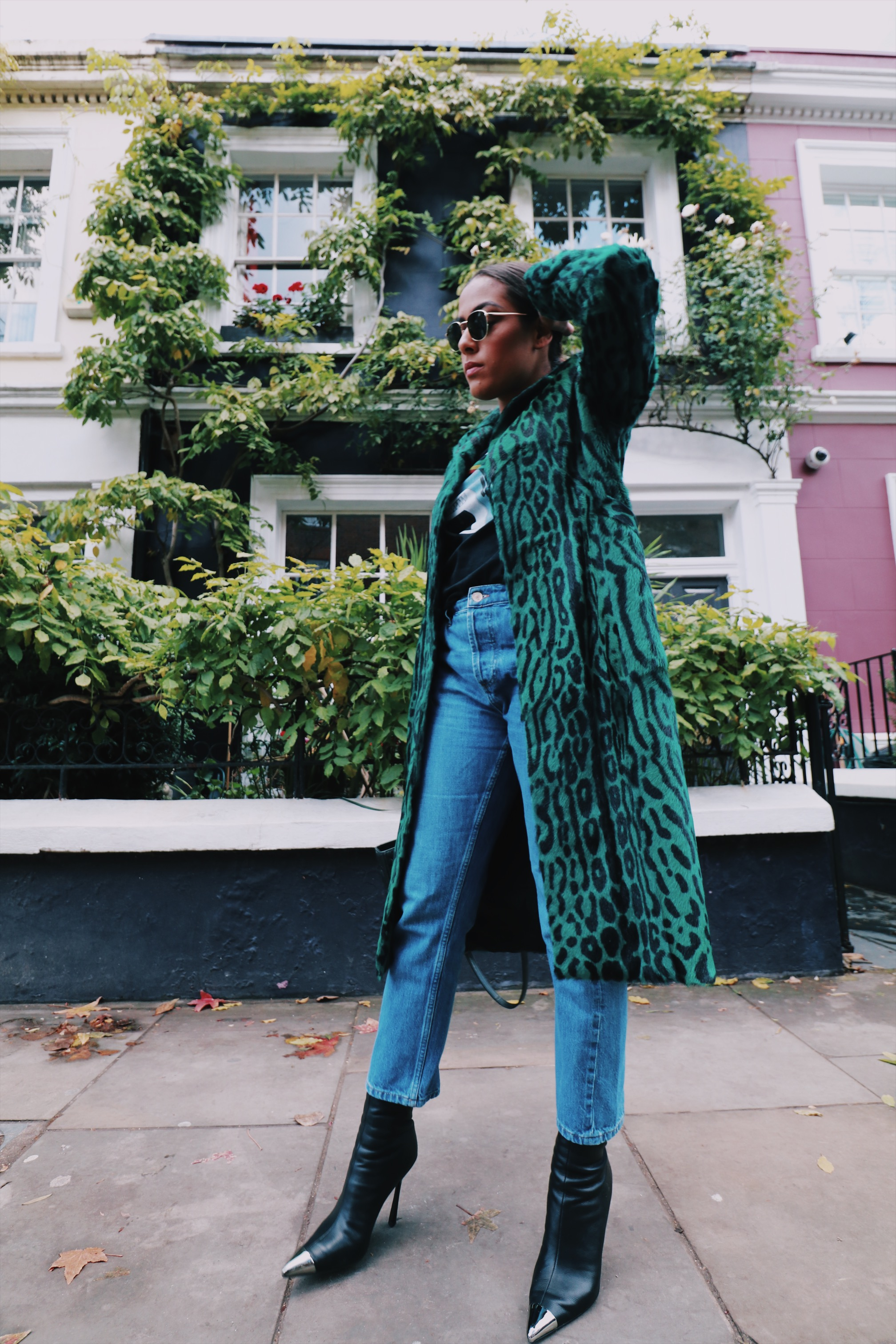 Verheyen London    Emerald Long Line Leopard Print Coat