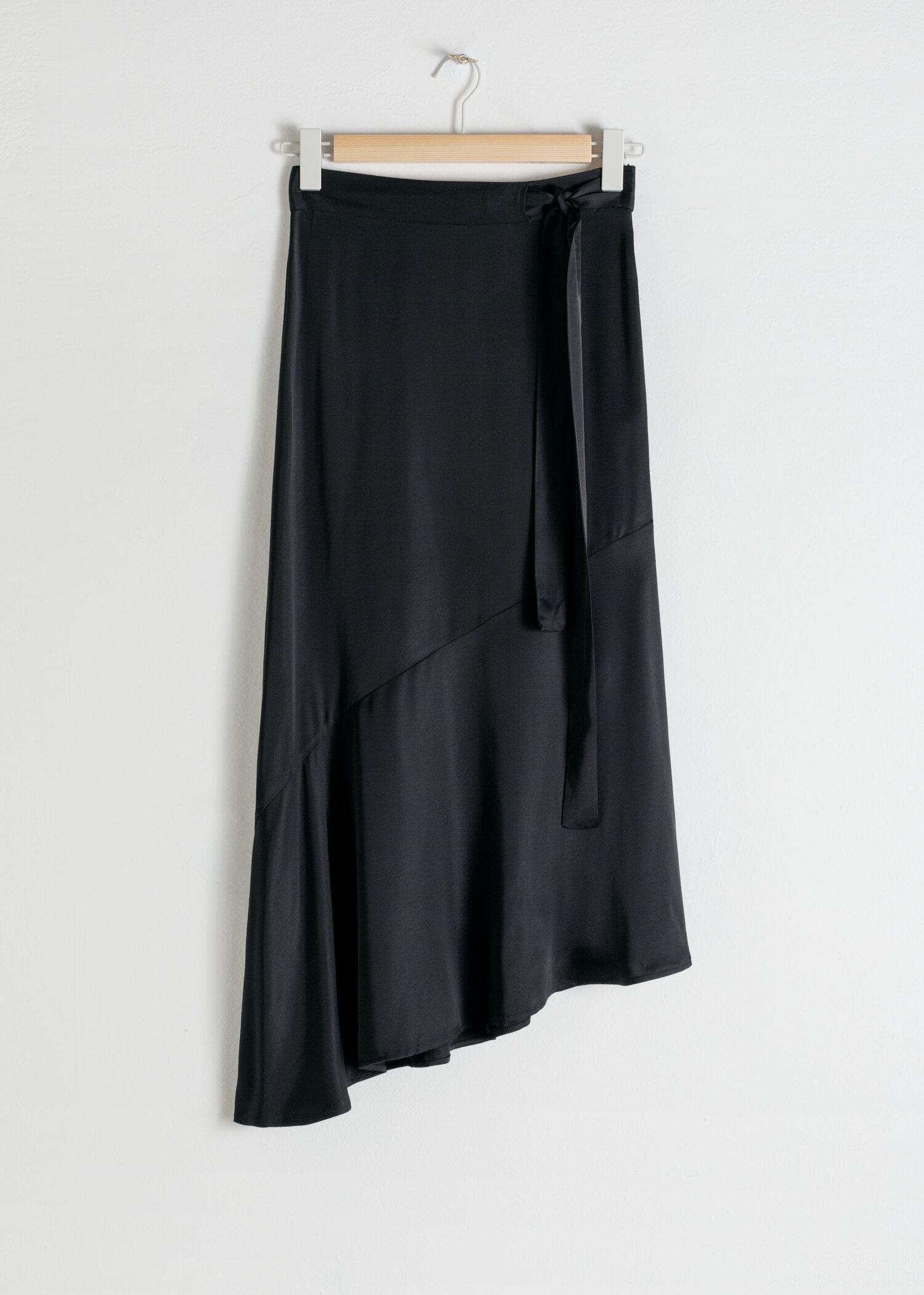 & Other Stories Black Satin Midi Skirt