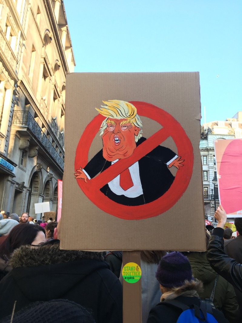 "Shoutout to illustrator  @lenikauffman  with her amazing ""No Trump"" sign, and all the other creative sign makers of the London Women's March"