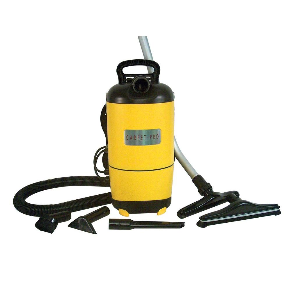 Carpet Pro SCBP-1 Commercial Backpack   - Curved Metal Wands - Full set of floor tools and attachements - 50' 3- Wire SJT Cord - 14.2 lbs. - 11.5 Amp Motor - 1 Year Warranty for Household or Commercial - HEPA Media Filter   $349.95