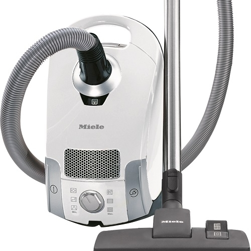 Miele Compact C1 Pure Suction - $399.95   • 1,200–watt Miele-Made Vortex Motor™  • 6-setting suction control via Rotary Dial  • Exclusive Miele AirClean Sealed System™  • Type FJM AirClean FilterBag™, 3.7 quart  • AirClean Filter (SAC 20/30)  • AllTeQ Combination Floorhead (SBD 285-3)  • Dusting Brush, Upholstery Tool and Crevice Nozzle on VarioClip™  • 29.5 ft cleaning radius • 1 Yr Warranty, 7 Yrs Motor & Casing   Flooring:  Suitable for bare floor and delicate, hand-made rugs.