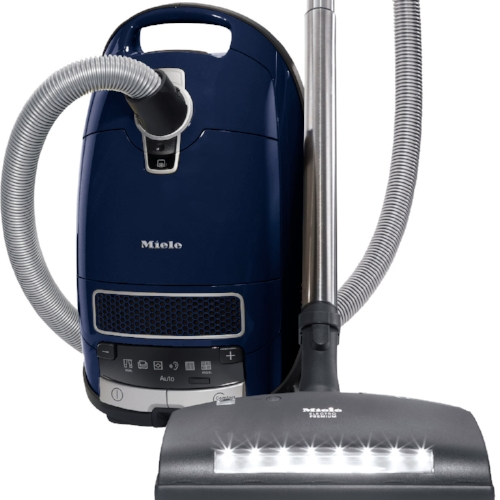 Miele Complete C3 Marin - $1099.95   • 1,200–watt Miele-Made Vortex Motor™  • 6-setting suction control via +/- controls w/auto setting • Exclusive Miele AirClean Sealed System™  • Type GN AirClean FilterBag™, 4.76 quart  • HEPA AirClean Filter (HA50)  • Premium Electro Floorhead (SEB 236)  • Parquet Twister Floorhead (SBB 300-3)  • Dusting Brush, Upholstery Tool and Crevice Nozzle on VarioClip™  • Top Rated Vacuum by Consumer Reports  • 36 ft cleaning radius  • 1 Yr Warranty, 7 Yrs Motor & Casing  Flooring:  Suitable for bare floor to high pile carpeting.