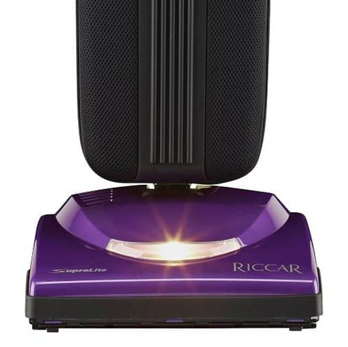"Riccar Supralite Standard (R10S) - $499.95   • Carpet and Rug Institute – Gold Seal of Approval • Assembled in the United States of America • 5.5 Amps, 2-Speeds • Switch on Handle • HEPA Bag, 24"" Long • Metal Handle With Ergonomic Grip, Metal Brushroll • Rubber Belt, Bare Floor Squeegee, Rubber Wheels • 35' Cord • Xenon Headlight • 9 lbs. • 4 Year Warranty"