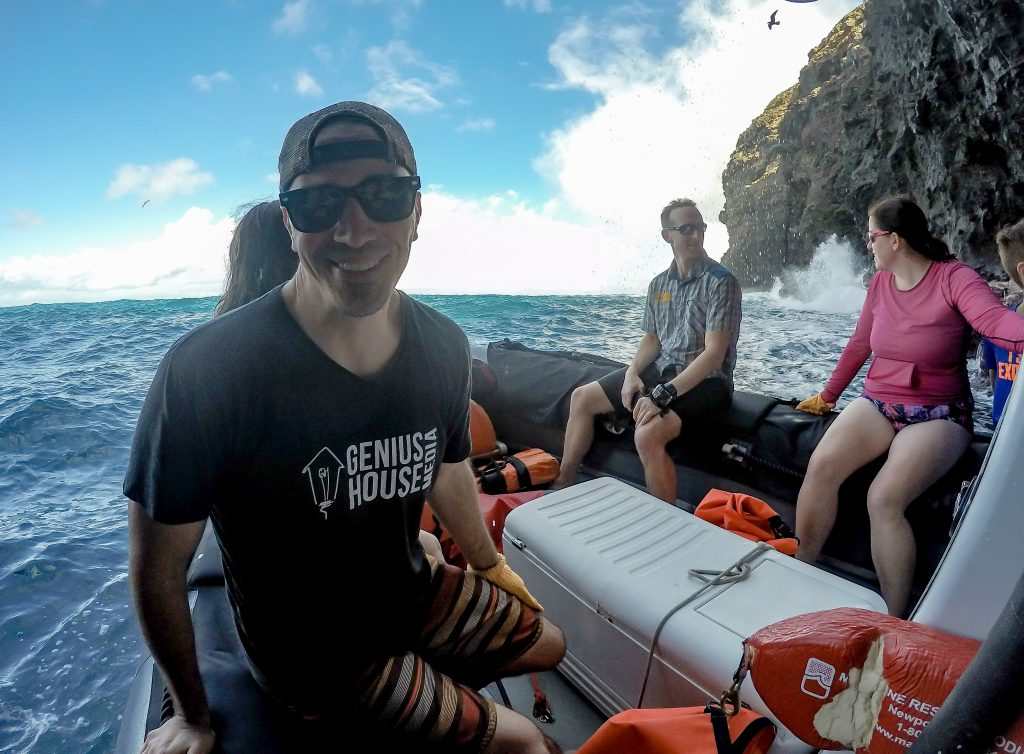 Genius Houseboat: Touring a Na Pali coast sea cave. Adam was thinking about producing a documentary about the coast.