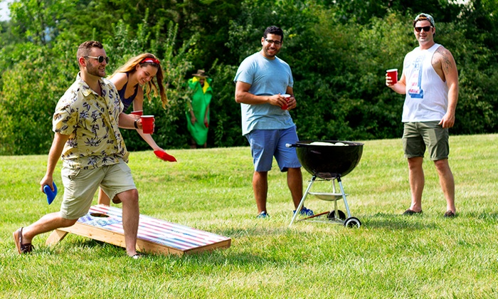 a photo from a Groupon deal on a cornhole set, featuring exactly who plays cornhole