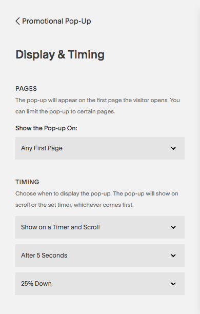 Squarespace PopUp Display and Timing