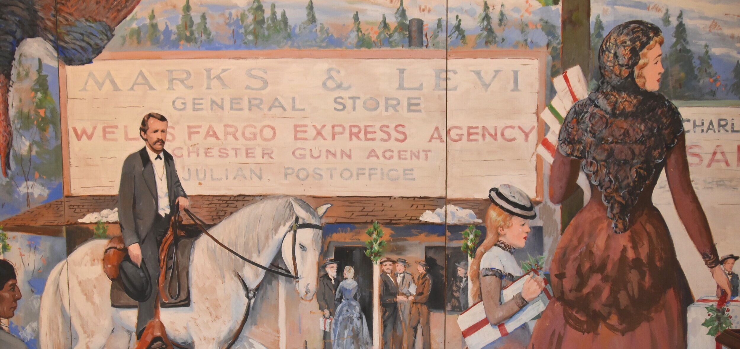 Early Julian resident Drury Bailey is pictured astride a horse in Julian Pioneer Museum mural, painted by Walter J. Willoughby.   PHOTO BY CAROL KINNEY