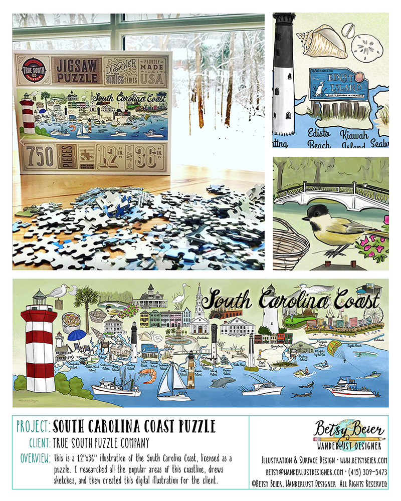 South Carolina Coast Puzzle Illustration by Betsy Beier
