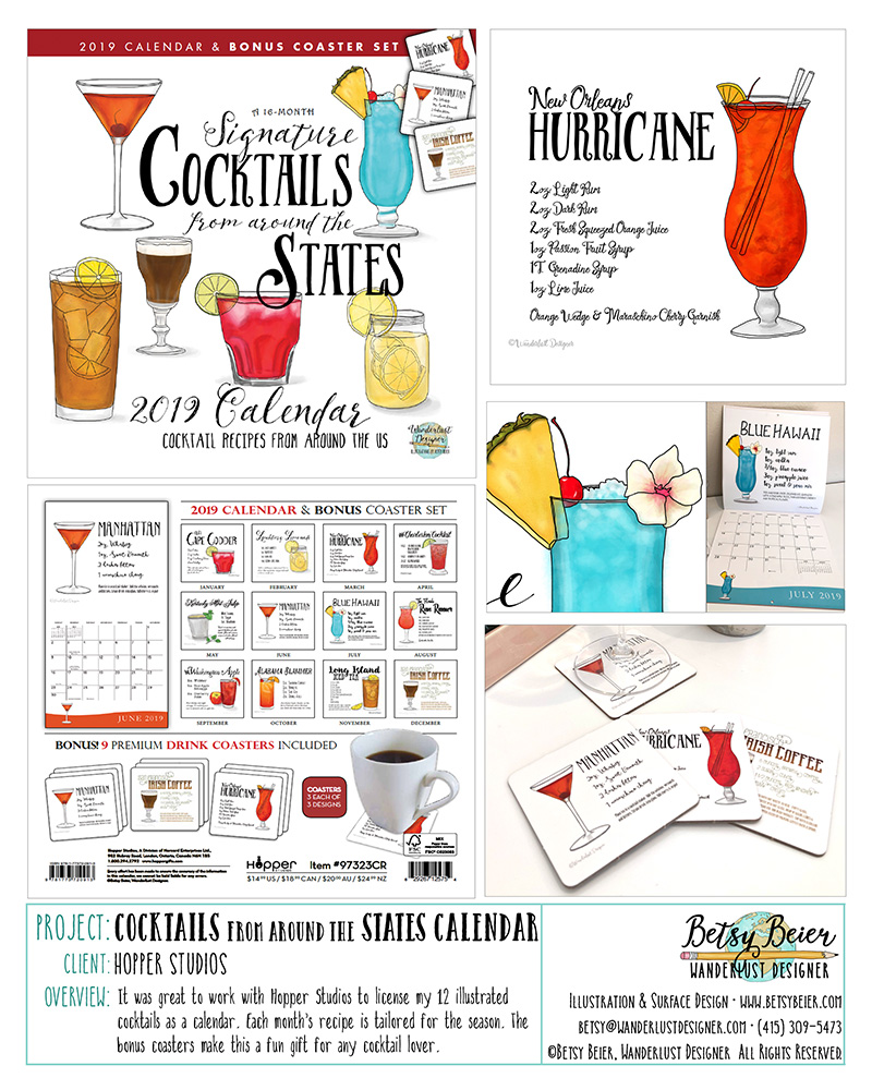 2019 Cocktail Calendar by Betsy Beier for Hopper Studios