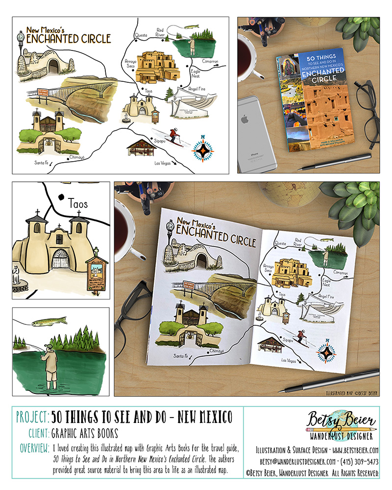 Published Illustrated Map in New Mexico Travel Guide