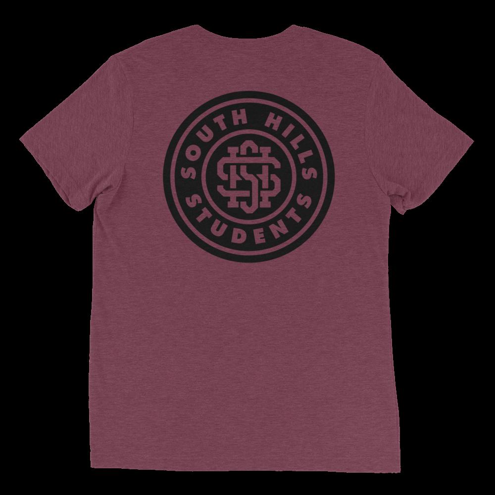 SHS-Shirt---FT-LF-Pocket_SHS-Shirt---BK-Leader-BACK_mockup_Back_Flat_Maroon-Triblend.png
