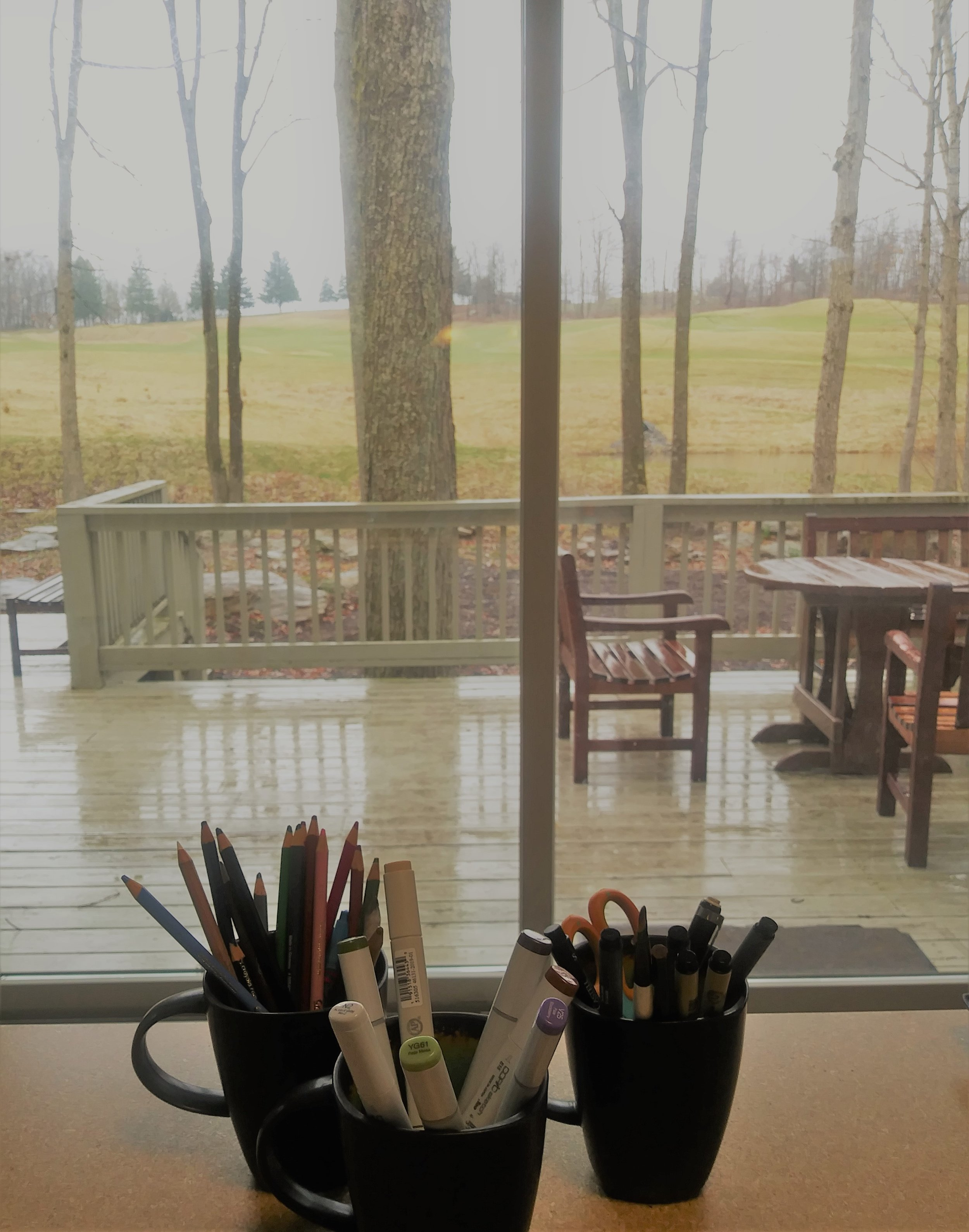 View from my studio at Waldon Pond, Nemacolin Woodlands Resort and Spa, Pennsylvania.