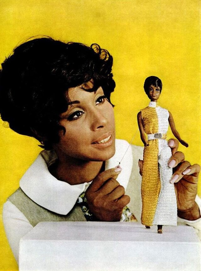 Diahann with the pull-string   Julia barbie