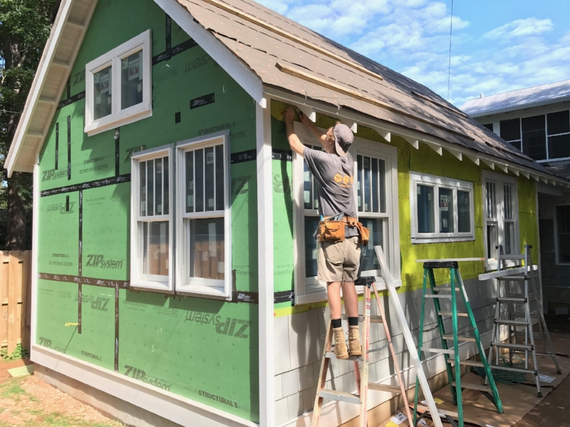 Hunter works on trim details for a major home addition we completed this past winter.