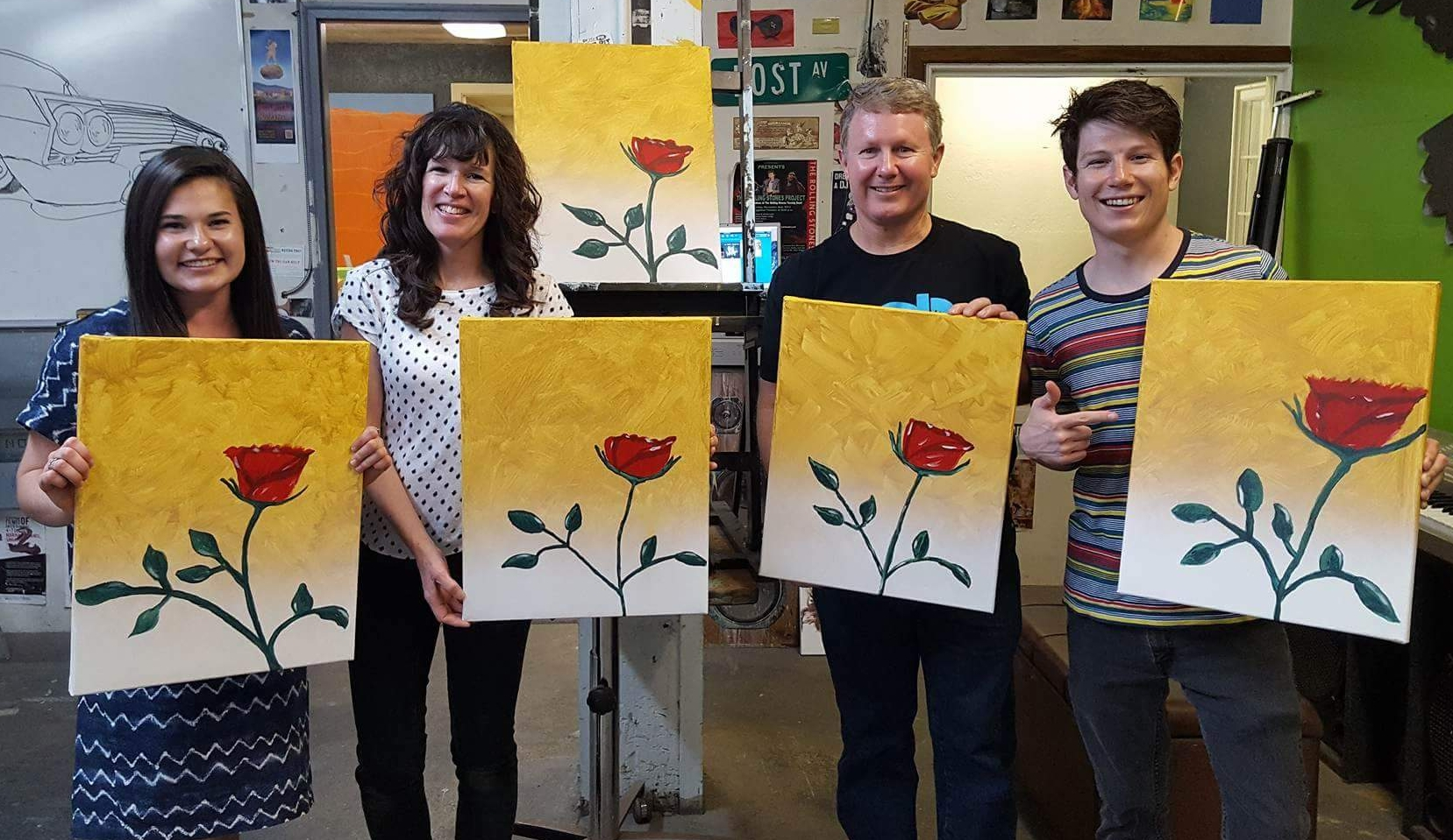 Jeff with his family after a paint night.