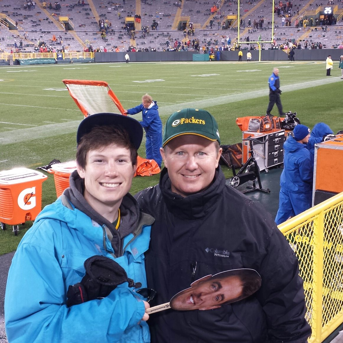 Jeff and his son, Tony, at a Green Bay Packers game