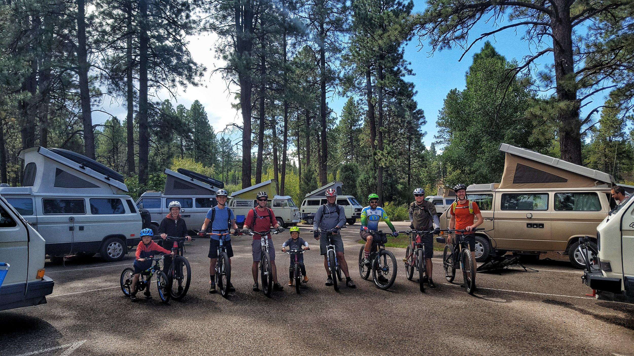 Heading out for a group mountain biking ride, Westyfest 2018, Durango, Colorado.