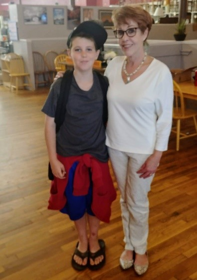 Jaden Brock with Ginger Collins, president, Alleghany Writers.