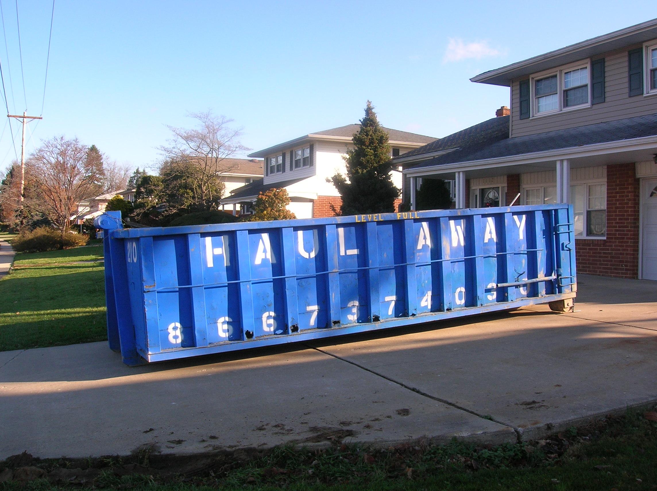 20 Yard Dumpster: 5h' x 8w' x 19L'