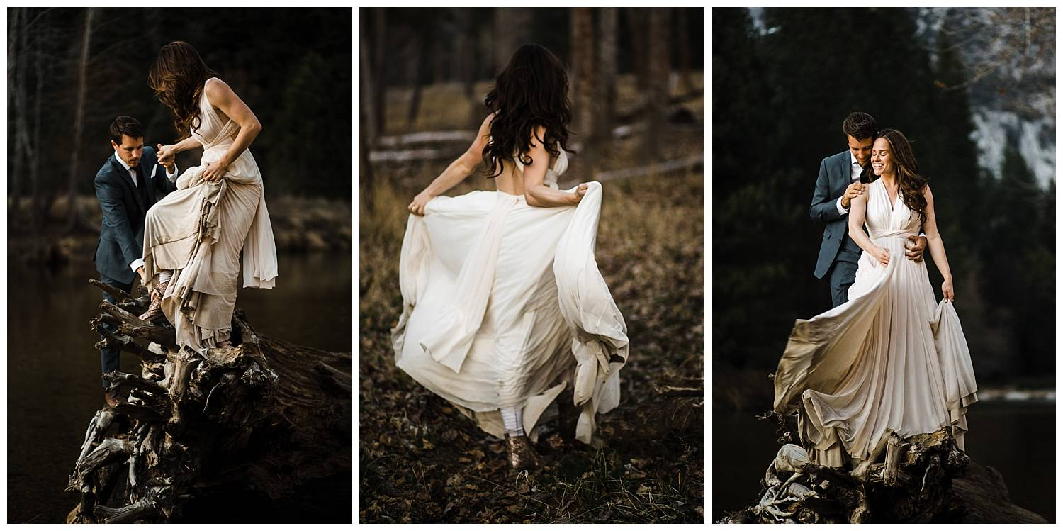 bride-having-fun-with-her-dirty-wedding-dress-at-yosemite-elopement