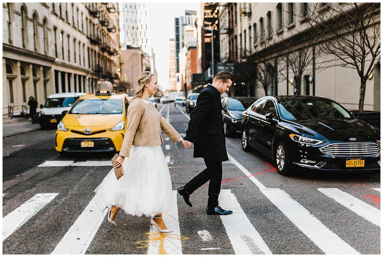 Bride-and-groom-walk-to-the-city-clerk