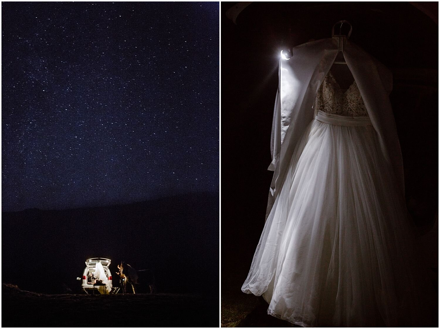 Getting ready for a sunrise elopement under the stars