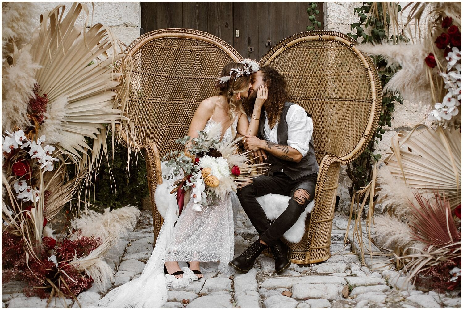 Boho-Wedding-with-Rattan-Chairs