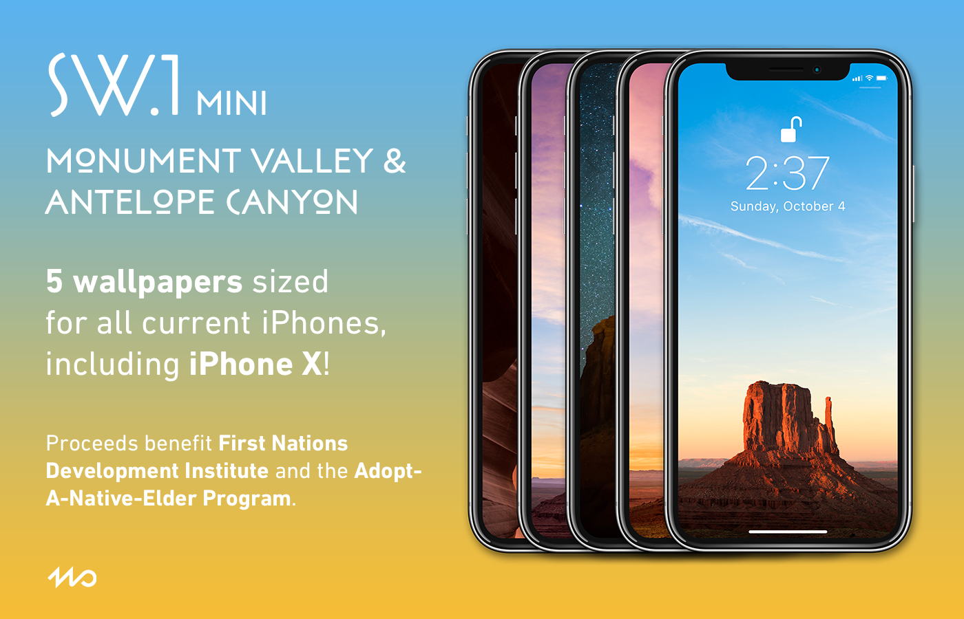SW.1 mini - SW.1 miniincludes iPhone wallpapers made from photos taken in Monument Valleyand Antelope Canyon, both of which are part of the Navajo Nation.All proceeds from the sale of SW.1 mini benefit equally the First Nations Development Instituteand the Adopt-A-Native-Elder Program.