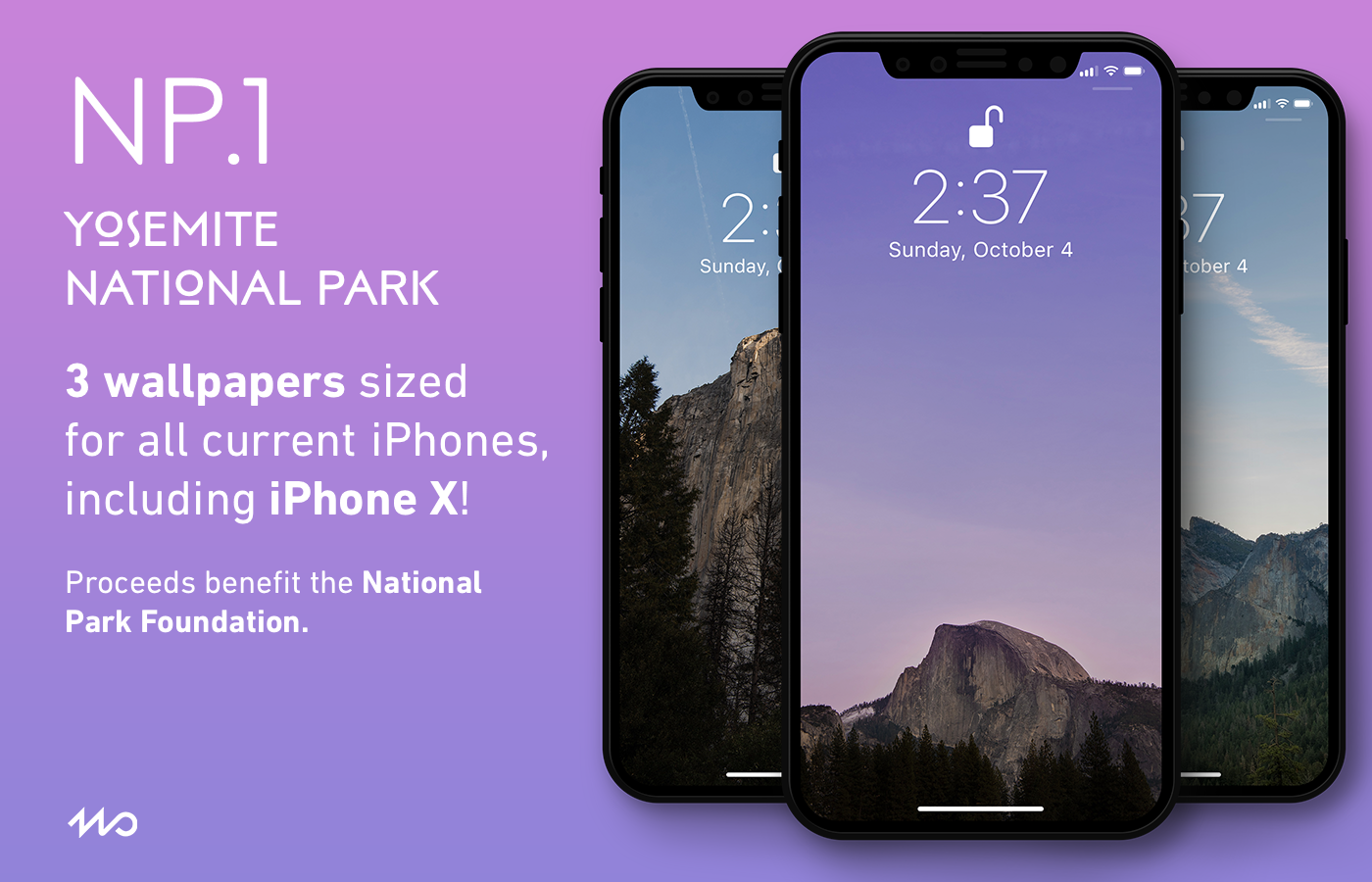 NP.1 - NP.1 includes iPhone wallpapers made from photos taken in Yosemite National Park in California.All proceeds from the sale of NP.1 benefit the National Park Foundation.