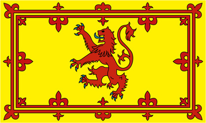 Although the national flag of Scotland is the blue and white 'Saltire', the Scottish people also have a second, very different, flag which is called the 'Lion Rampant'.