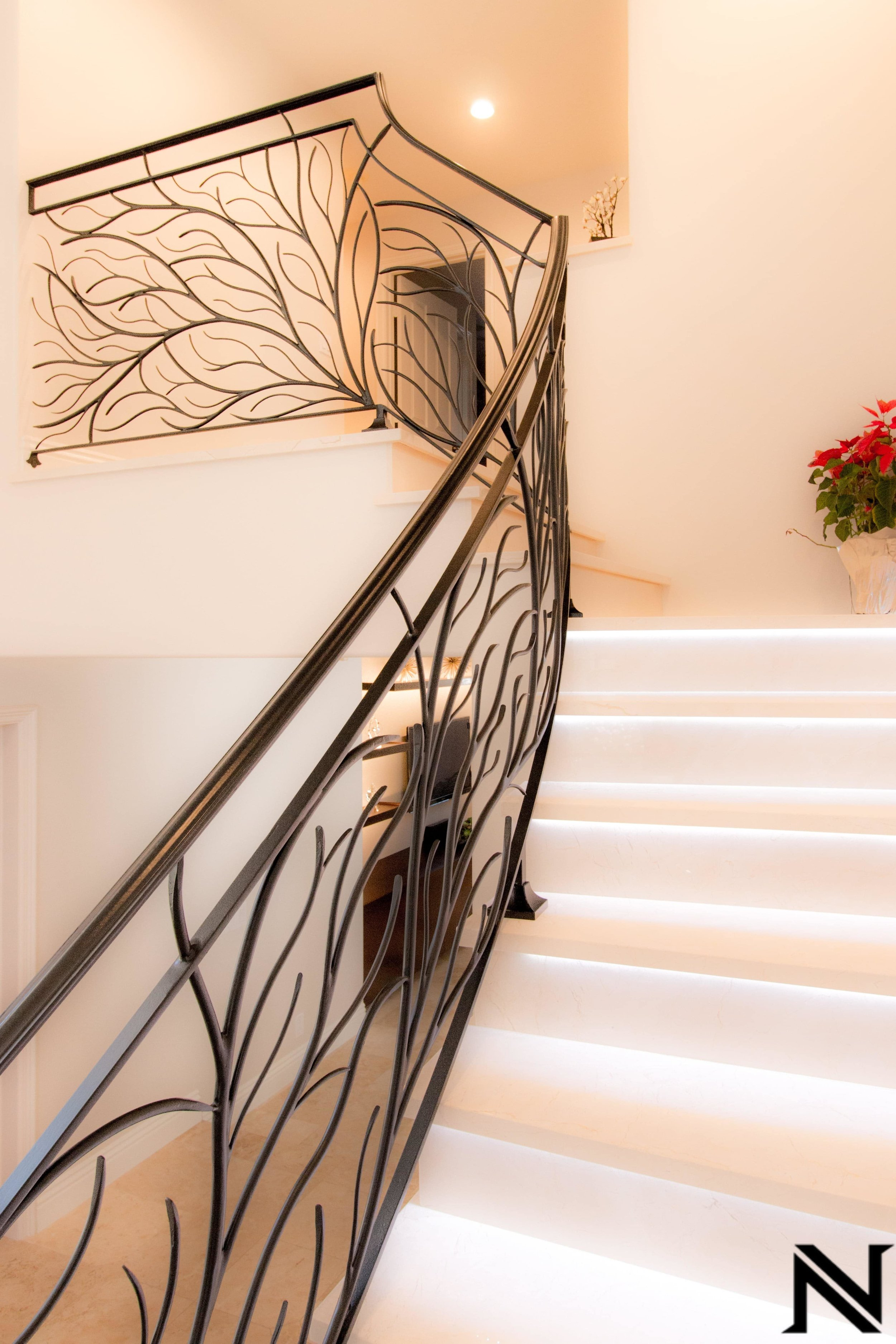 Naddour's Custom Metalworks Modern Staircase Railing Featured Project .jpg