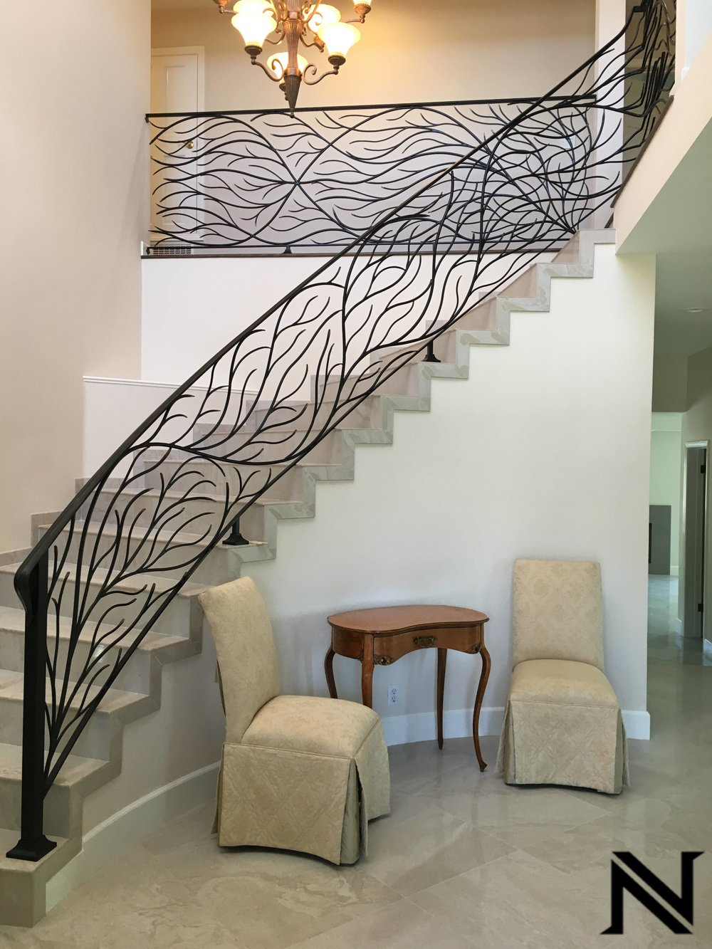 'Branched Out' Wrought Iron RailingStaircase Railings Design Ideas Naddour's Custom Metalworks
