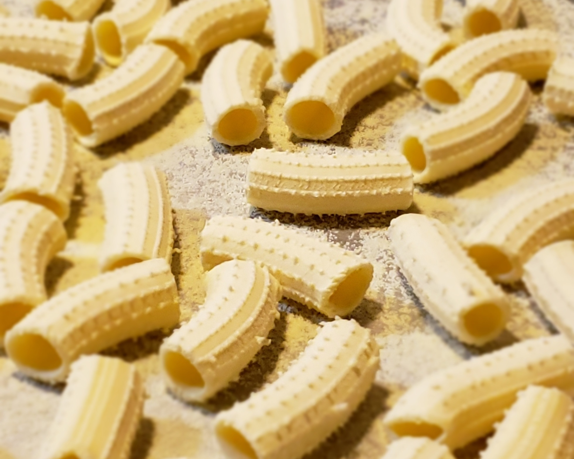 Close-up of the texture of fresh rigatoni.