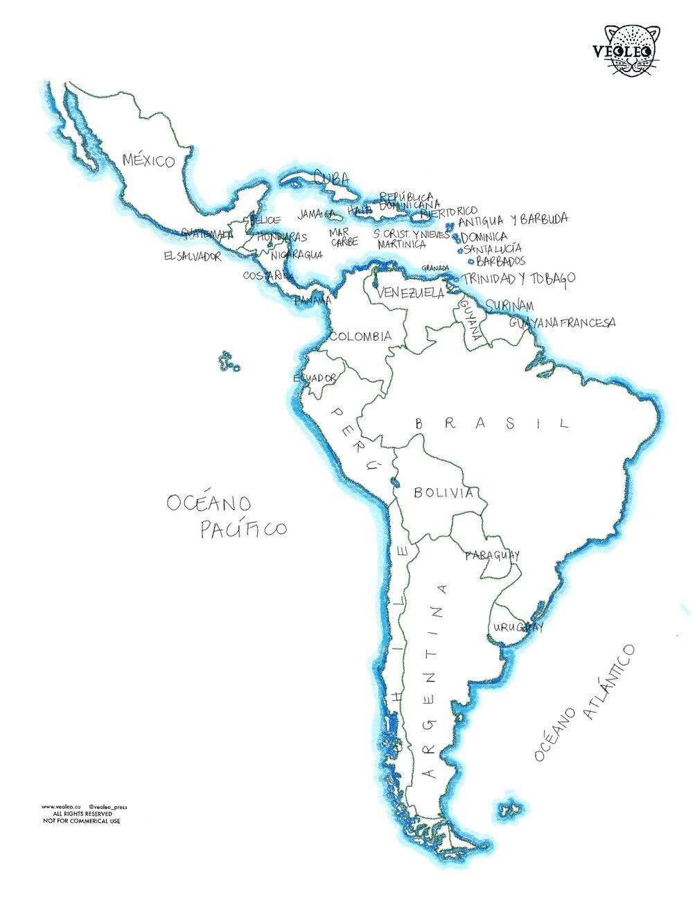 Mapa Latinoamerica Y El Caribe Coloring Sheets Veoleo