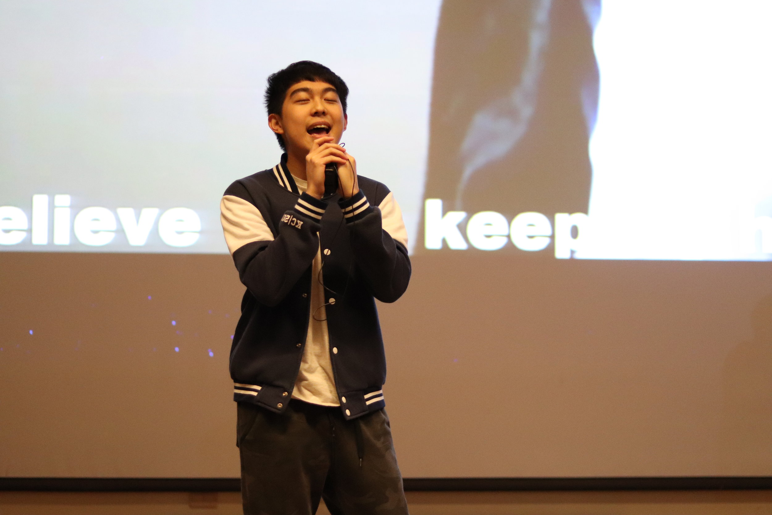 Active Vincent Lin helped candidate Jerry Wang belt out a song