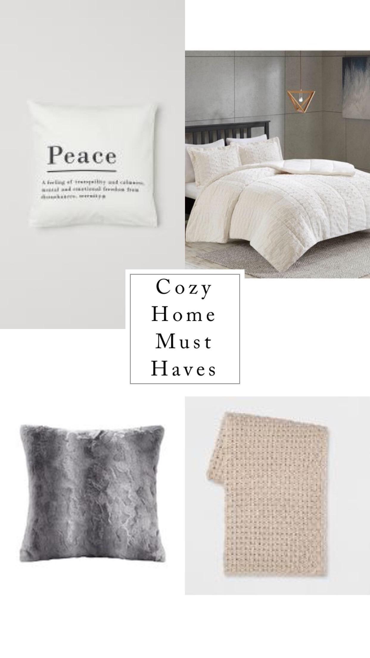 1.  Faux fur Comforter;  2.  Peace Pillow ; 3.  Faux Fur Pillow ; 4.  Knitted Blanket