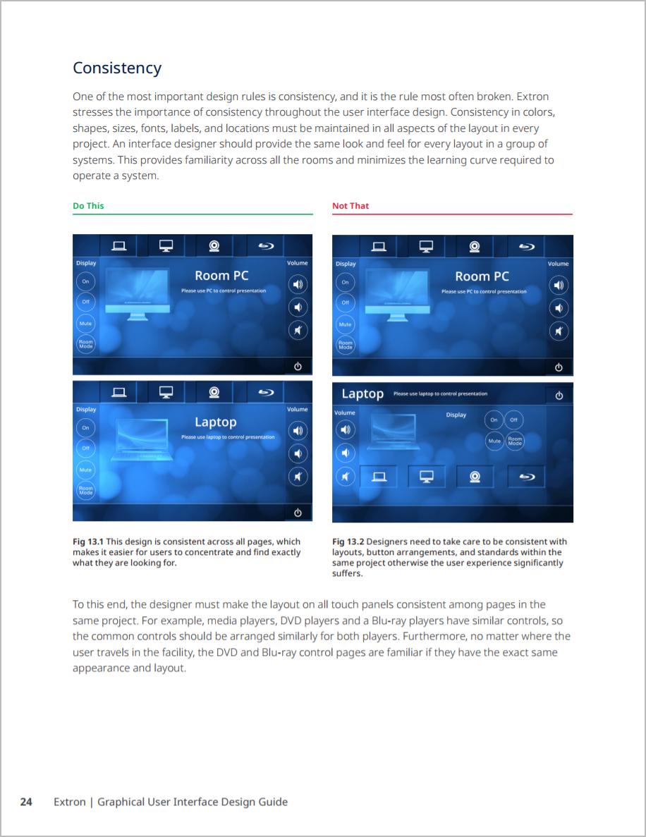 Sample page describing principle of consistency