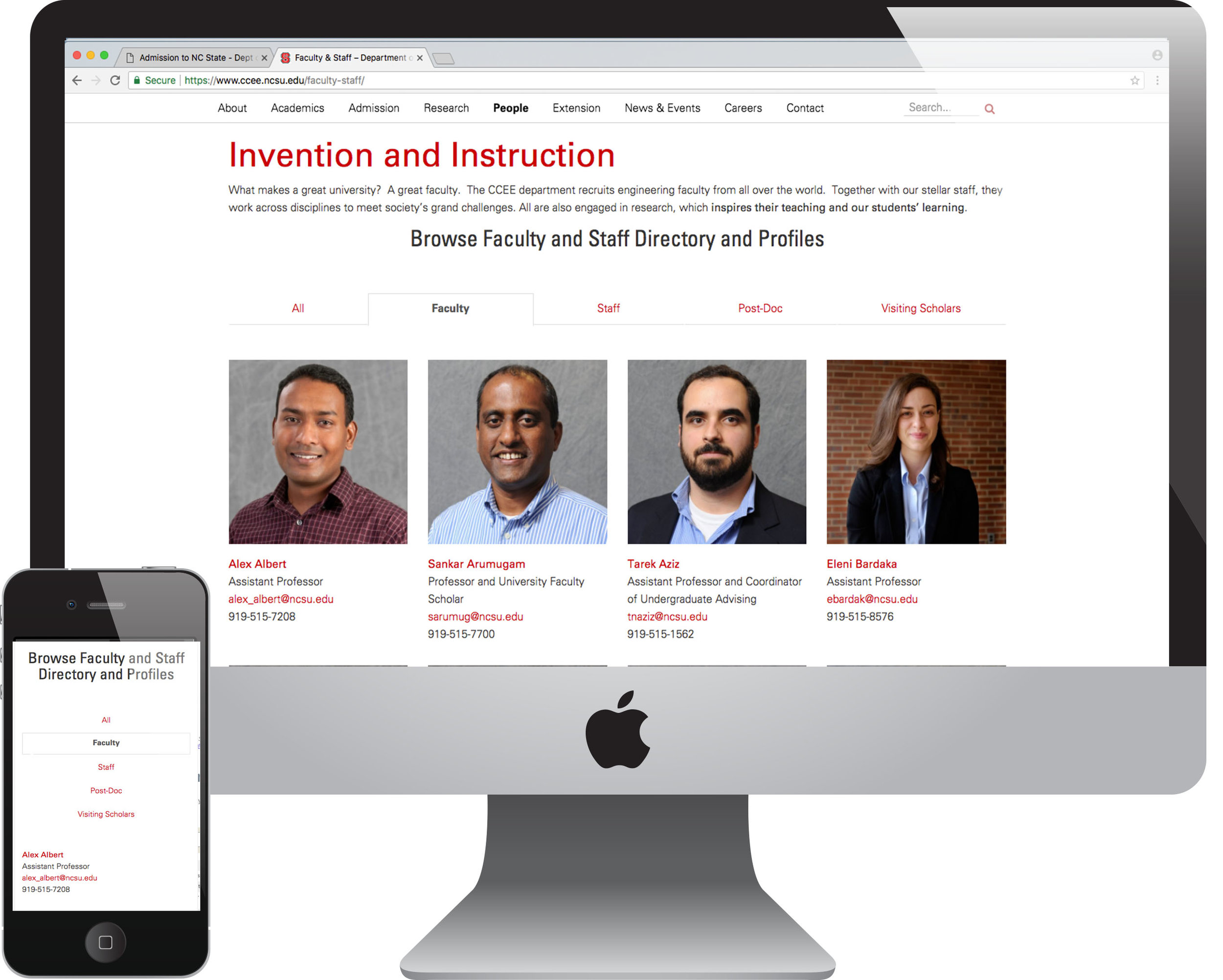 Updated concepts for Faculty and Staff page.