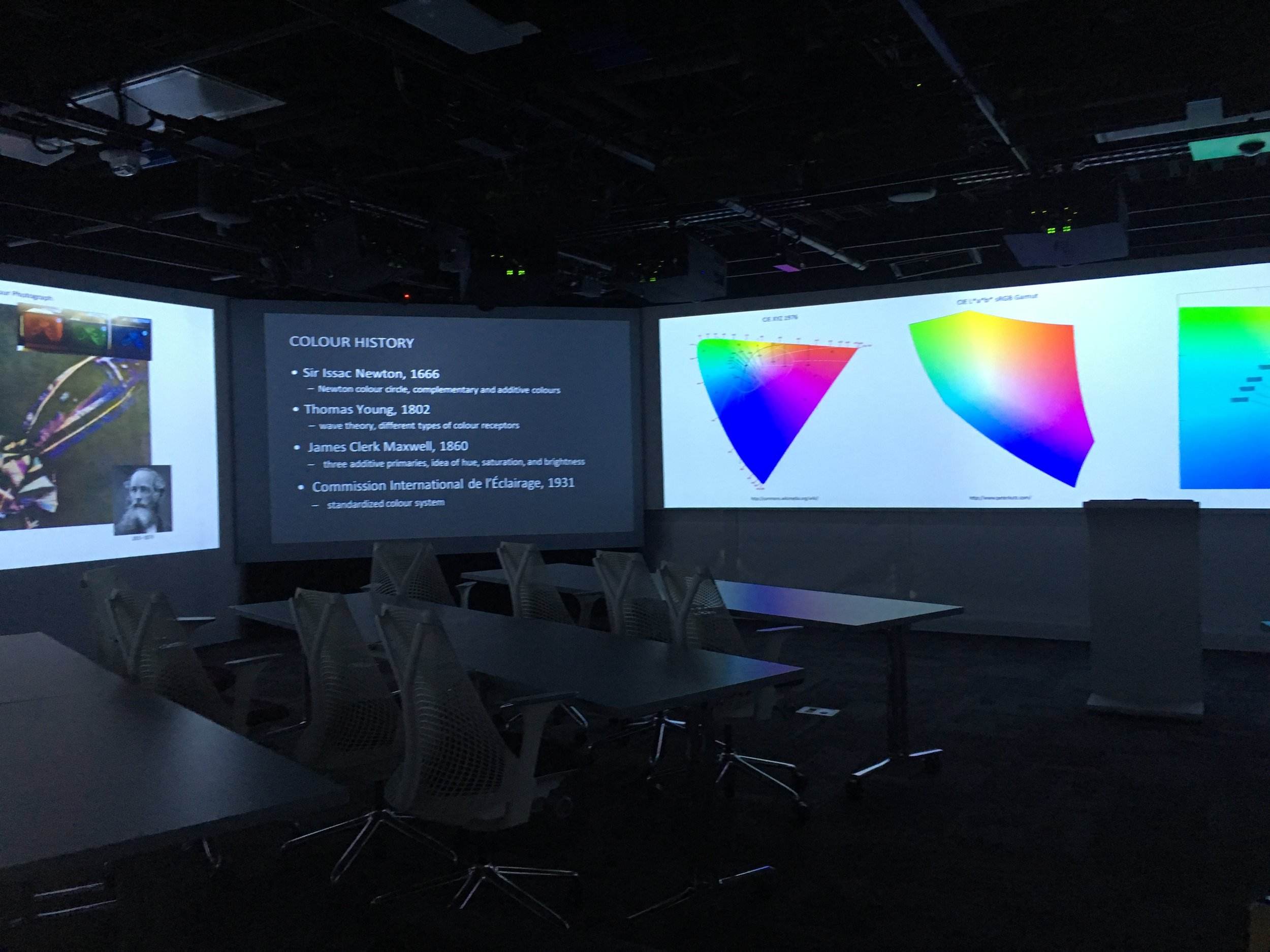 Example of a large video wall. Our goal is to provide a lightweight management tool that would allow inexperienced users to manage the content.