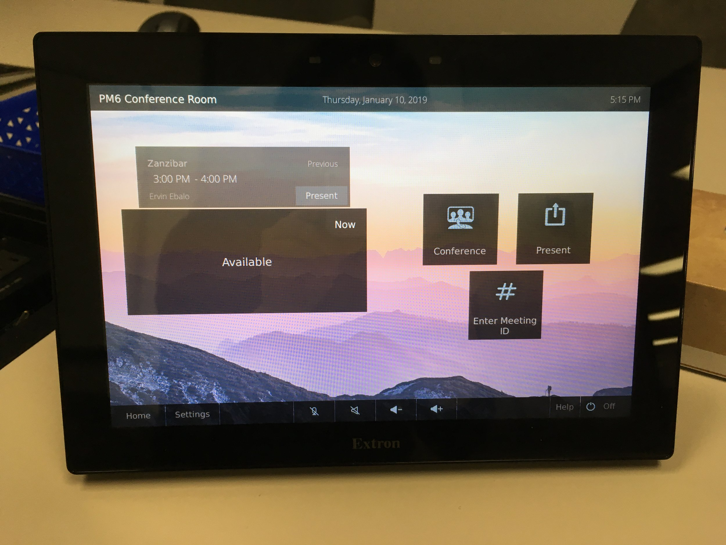 Our new template loaded on one of Extron's touch panels.