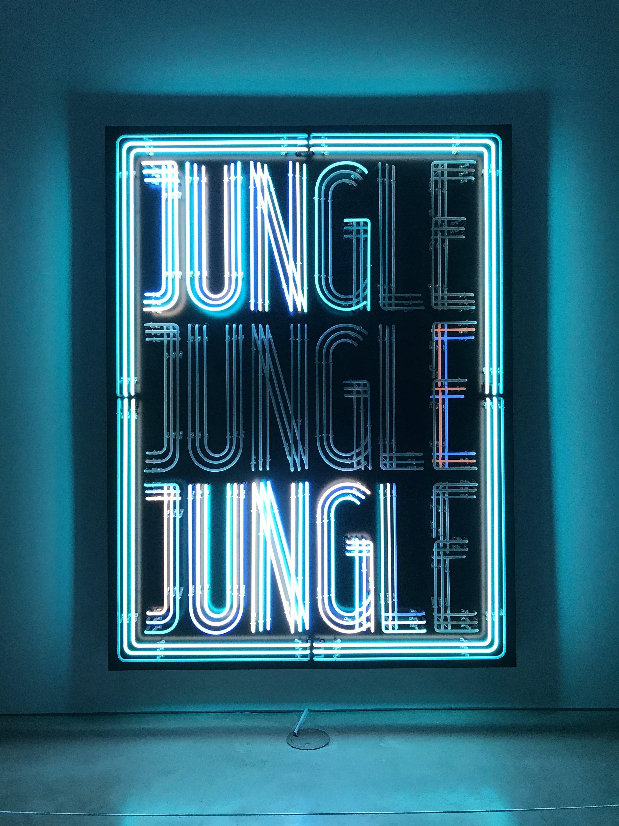 Doug Aitken,  JUNGLE  2018 Neon, wood 96 x 72 inches