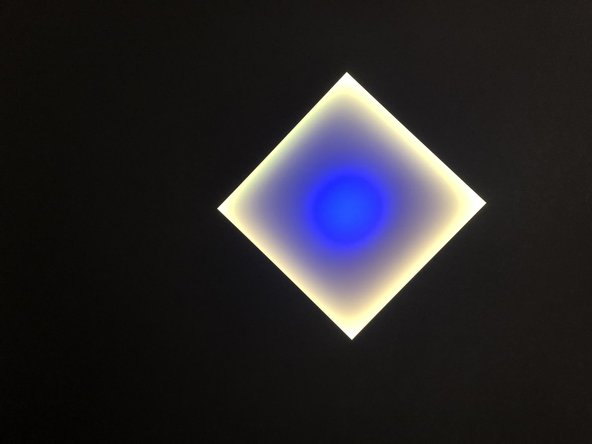James Turrell,  Medium Diamond Glass,  2018 L.E.D. light, etched glass and shallow space 54 x 54 inches