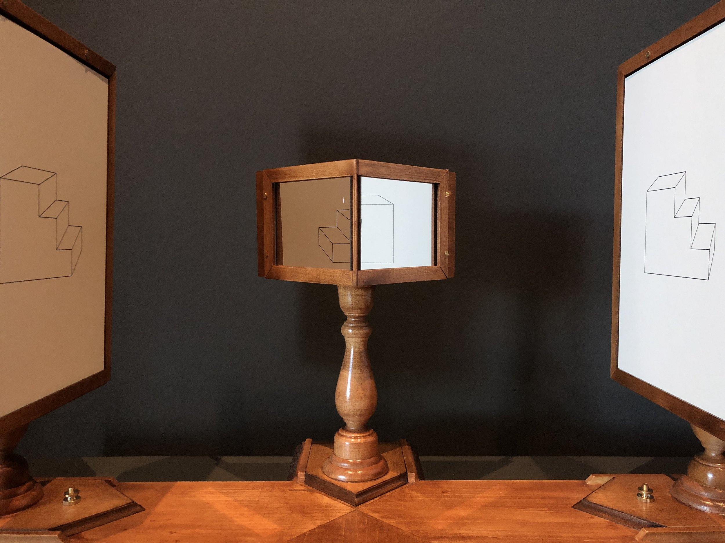 """In the 1830s Charles Wheatstone invented the """"stereoscope"""" to demonstrate that two slightly dissimilar diagrams can be resolved by the eyes and brain into a single volumetric image that does not correspond to a physical object in the world."""