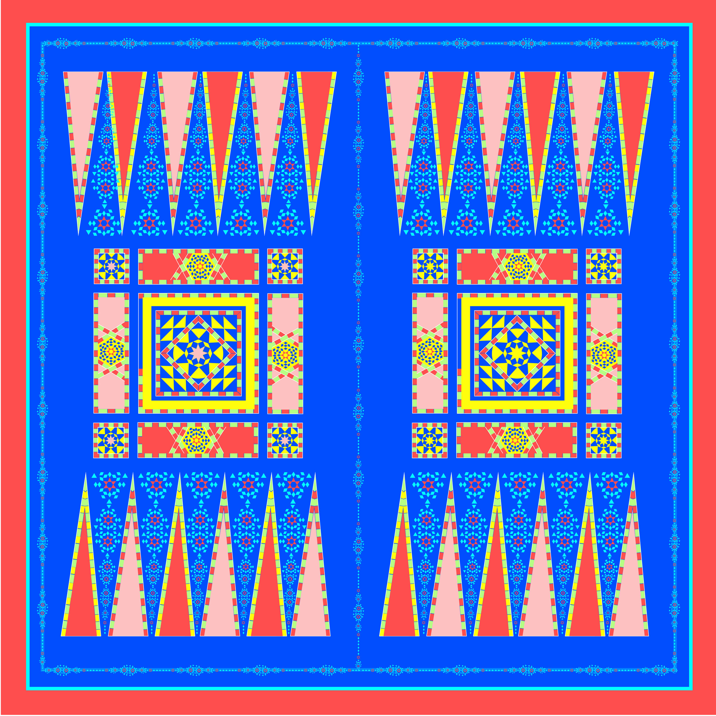 My backgammon/Middle East pattern-inspired Hermès scarf. Designed by Marina Murad.
