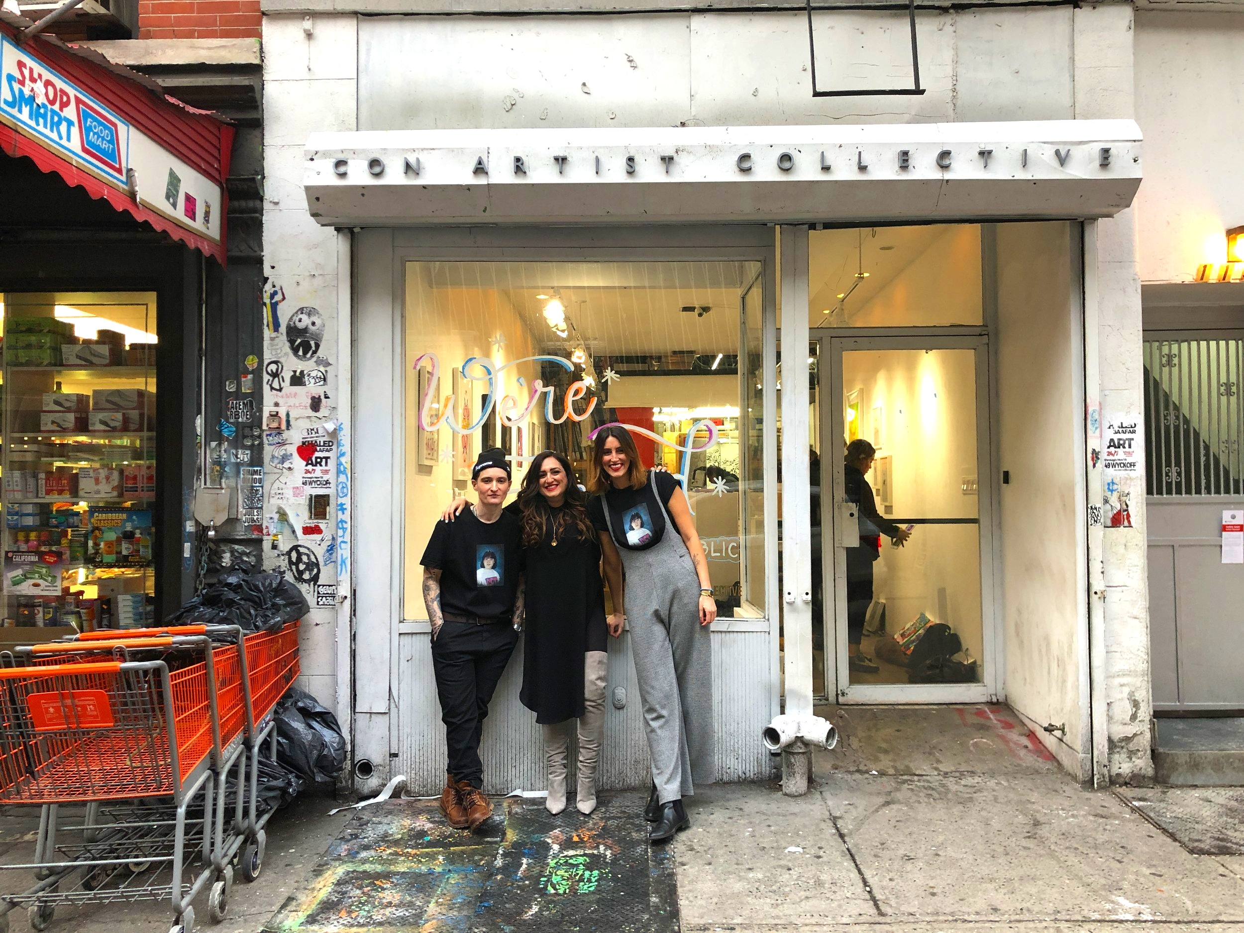 """With Joy Scop and Rachael Feinman, the curators and artists for the """"We're Fucked"""" art exhibit."""