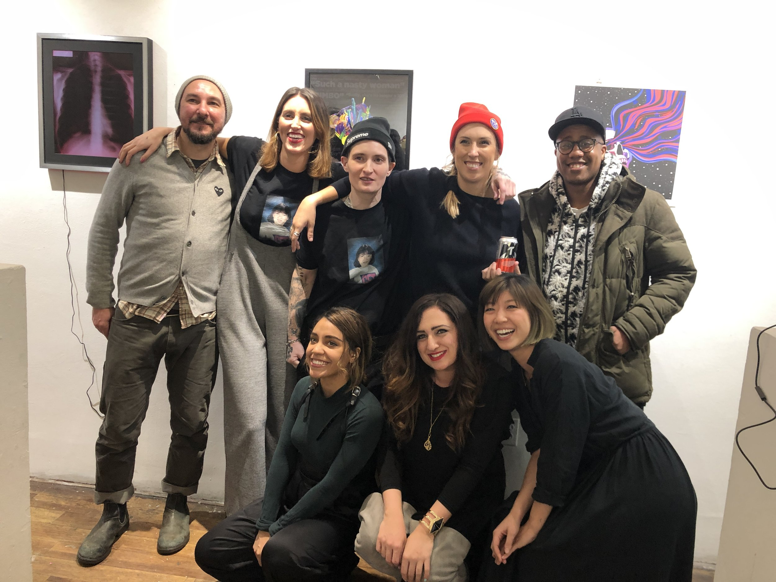 All the exhibiting artists at Con Artist Collective gallery in New York City.