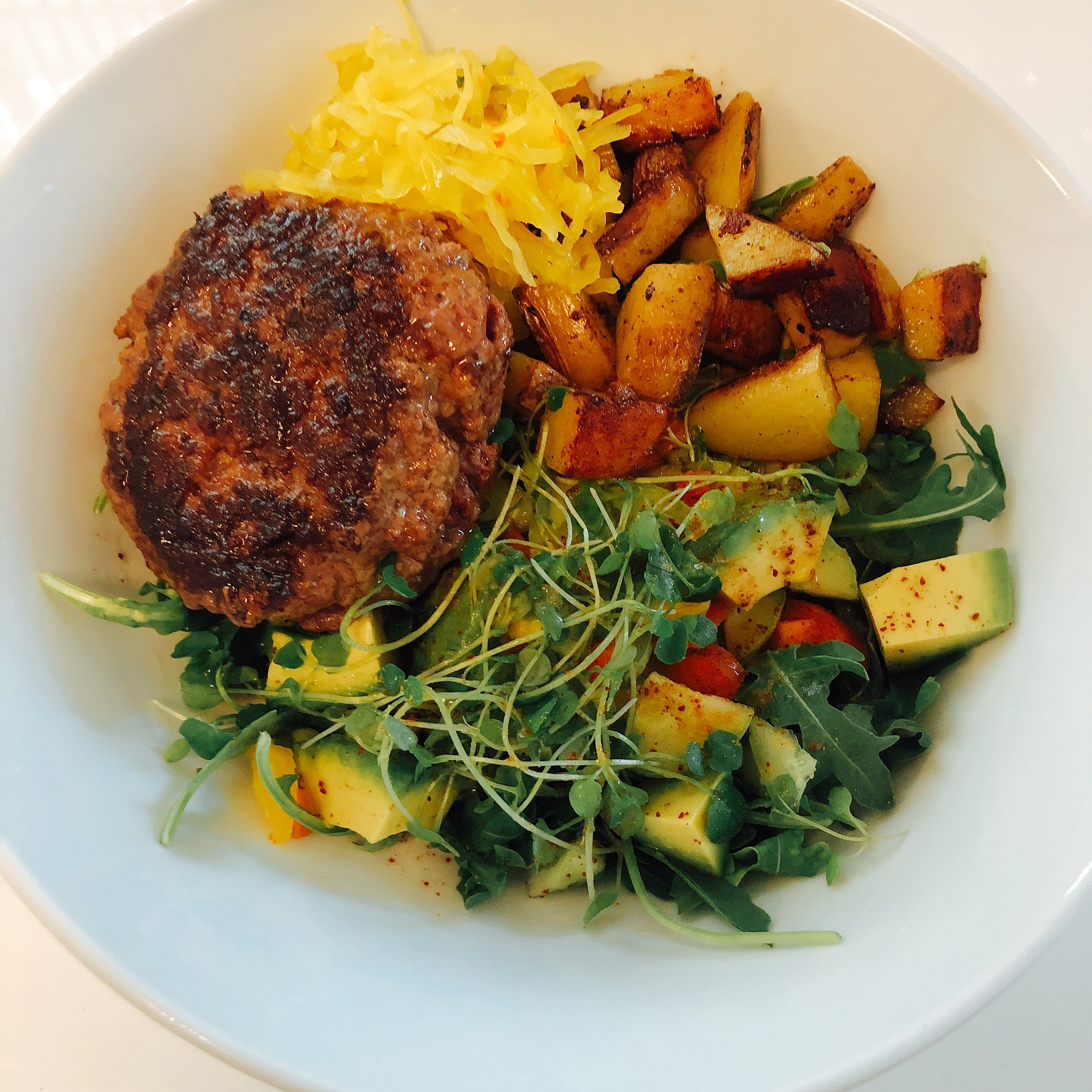 Lamb Burger, Potatoes and Avocado Sprout Salad
