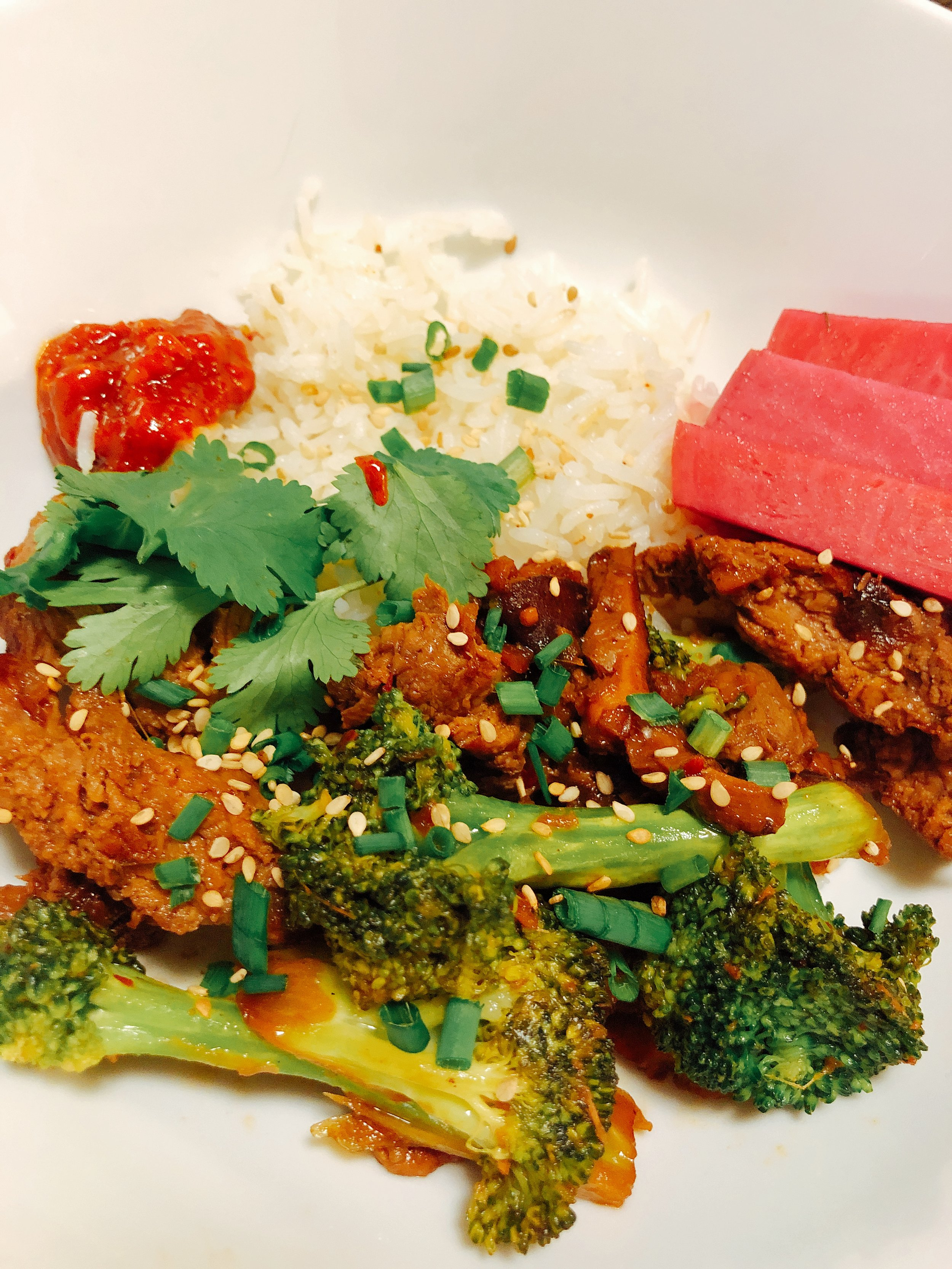 Beef//Broccoli + Rice and Pickled Turnips