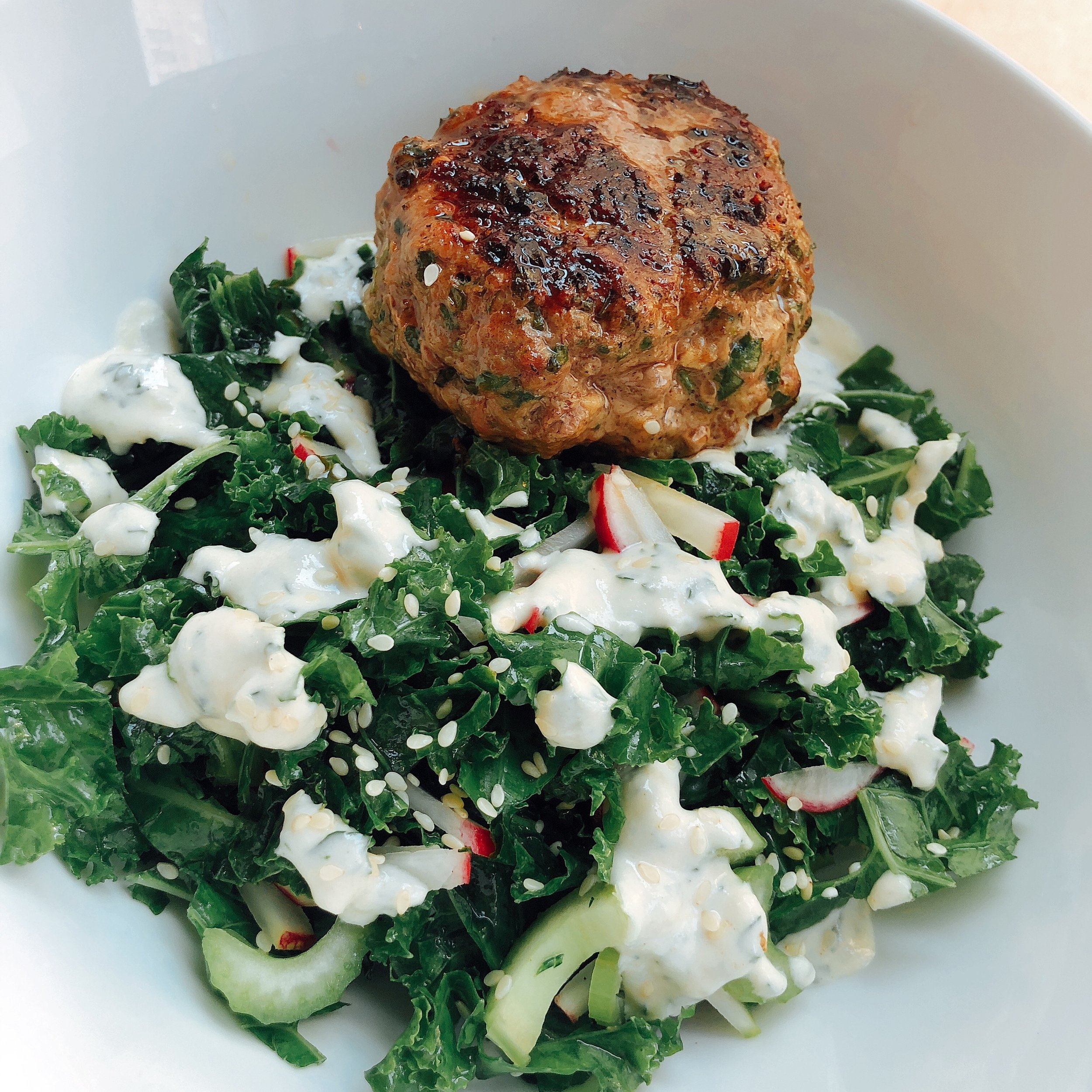 Herb Loaded Burger over Salad